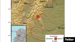 Según el Servicio Geológico Colombiano, el primertemblor - registrado a las 2 de la tarde - tuvo una magnitud de 6,2 grados.