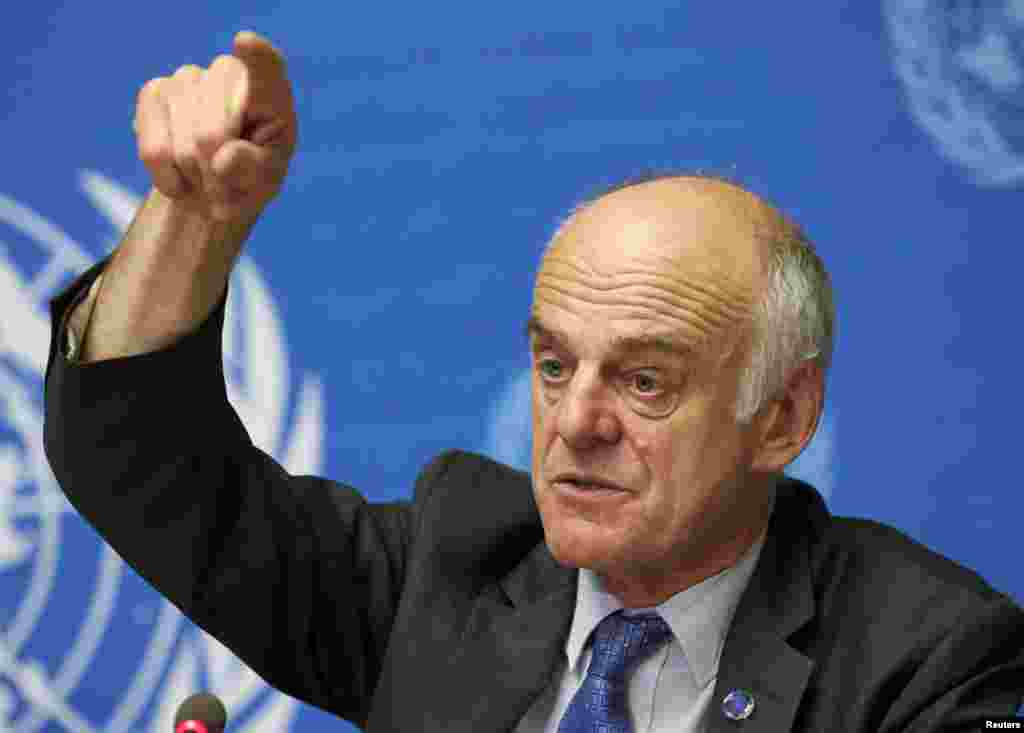 Dr. David Nabarro gestures during a news conference on Ebola at the United Nations in Geneva, Sept. 16, 2014.