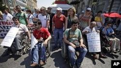 希臘民眾反對經濟緊縮政策。