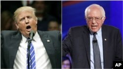 From left, presumptive Republican presidential nominee Donald Trump and Democratic presidential candidate Bernie Sanders.