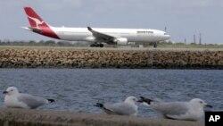 Một chiếc máy bay Qantas chuẩn bị cất cánh tại sân bay Sydney, Australia.