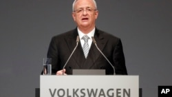 FILE - Martin Winterkorn, Volkswagen CEO at the time, addresses shareholders during an annual shareholder meeting of the car manufacturer, in Hannover, Germany, May 5, 2015.