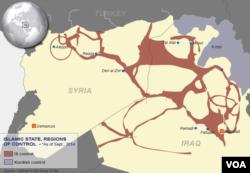 Khu vực màu nâu đỏ thuộc khu vực nhóm Nhà nước Hồi giáo kiểm soát