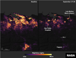These before-and-after images of San Juan, Puerto Rico's nighttime lights on Sept. 27 and 28, 2017, show widespread power outages after Hurricane Maria made landfall.
