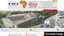 """La Une du site des """"Rencontres Africa 2016"""", le 6 septembre 2016."""
