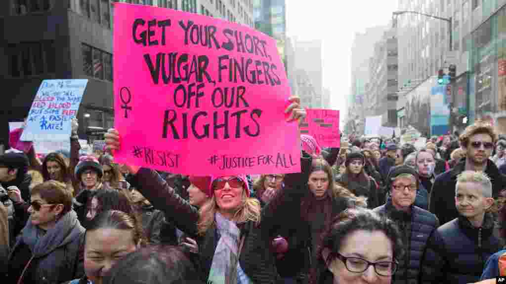 The Women's March on Washington sends a message to President Trump in support of women's rights and other causes.