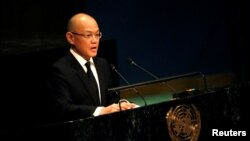 FILE-Thailand's Ambassador to the United Nations Virachai Plasai speaks during a tribute to the late King of Thailand Bhumibol Adulyadej in the General Assembly at United Nations headquarters in New York, October 28, 2016.