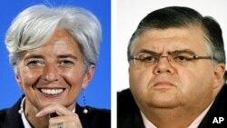 法國財政部長拉加德(左)與墨西哥中央銀行行長卡斯滕斯(右)