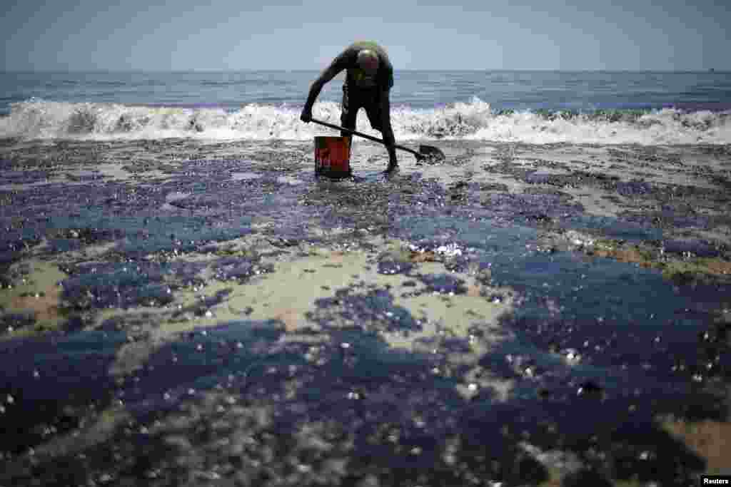 William McConnaughey, 56, who drove from San Diego to help shovel oil off the beach, stands in an oil slick in bare feet along the coast of Refugio State Beach in Goleta, California, May 20, 2015. A pipeline ruptured along the scenic California coastline, spilling some 21,000 gallons (79,000 liters) of oil into the ocean and on beaches, a U.S. Coast Guard spokeswoman said.