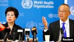 8일 세계보건기구 마가렌 챈 사무총장(왼쪽)과 케이지 후쿠타 부사무총장이 스위스 제네바에서 에볼라 사태에 관한 기자회견을 열었다.