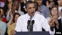 Presiden Barack Obama memberikan pidato mengenai kebijakan energi AS, di Prince George's Community College di Largo, Maryland (15/3).