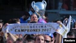 Le retour de l'équipe du real Madrid en Espagne, le 4 juin 2017.