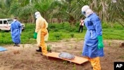 In this photo taken on Friday, June 19, 2015, the wrapped remains of a new born child suspected of contracting the Ebola virus, lays on a stretcher as health workers, dressed in Ebola protective gear, move the body for burial in Dubreka, Guinea.