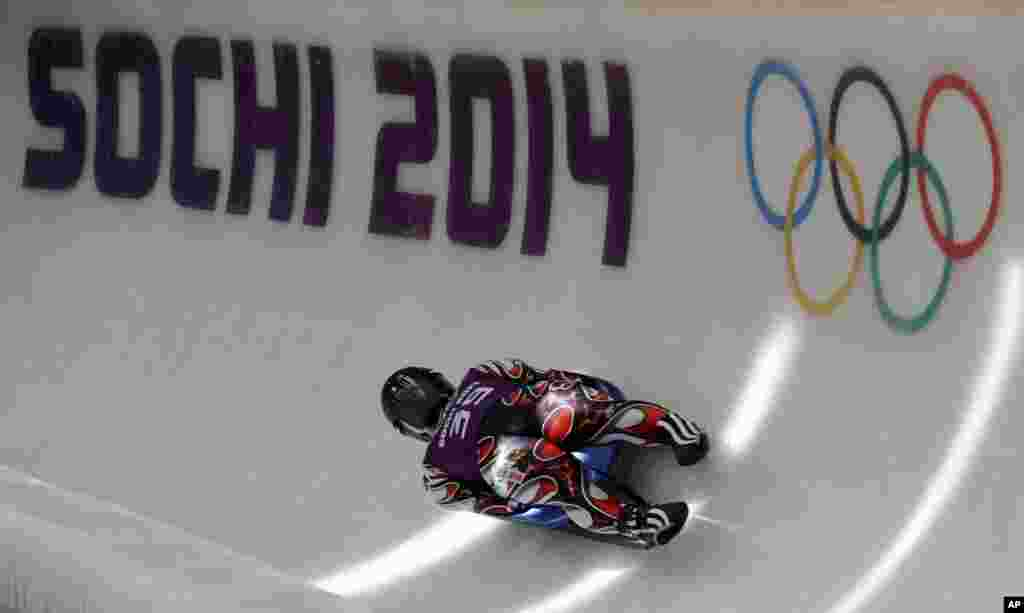 Hidenari Kanayama of Japan completes a training run in the men's luge singles ahead of the 2014 Winter Olympics, Feb. 4, 2014.