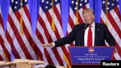 2017年1月11日,川普在紐約的川普大廈舉行當選總統後首次記者會
