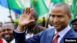 Moise Katumbi, gouverneur de la République démocratique du Congo, de retour dans sa province, pour une conférence de deux jours sur la mine à Goma, le 24 mars.