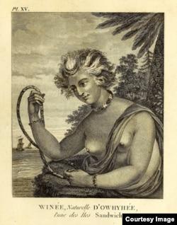 Portrait of Winée, a native of Hawaii, from Voyages de la Chine à la côte nord-ouest d'Amérique, faits dans les années 1788 et 1789, dated 1790. Courtesy of the John Carter Brown Library at Brown University.