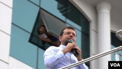 Ekrem Imamoglu won decisively in the revote, taking more than 800,000 votes over the ruling party's Binali Yildirim, (D. Jones/VOA)