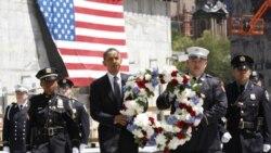 نهادن تاج گل در محل یادبود قربانیان ۱۱ سپتامبر توسط باراک اوباما