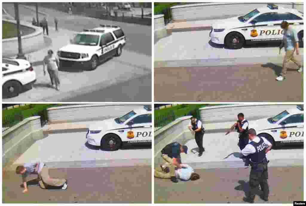 Jesse Olivieri is seen on CCTV security video being arrested after being shot by the U.S. Secret Service while carrying a gun outside the White House in Washington, D.C., in May 2016, in this combination photo of video frame grabs.
