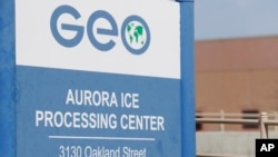 The entrance to the GEO Group's immigrant detention facility in Aurora, Colo., April 15, 2017. People once held in a privately run Colorado immigration detention center are challenging the system used to keep it clean and maintained, arguing it borders on slavery. They have won the right to sue GEO Group on behalf of an estimated 60,000 people held at its detention center near Denver over a decade.