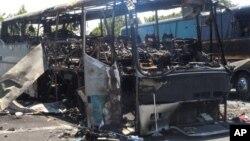 Взорванный террористами автобус. Бургас. Болгария. 19 июля 2012 г.