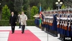 Azərbaycan prezidenti İlham Əliyev vəGürcüstan prezidenti Mixeil Saakaşvili.