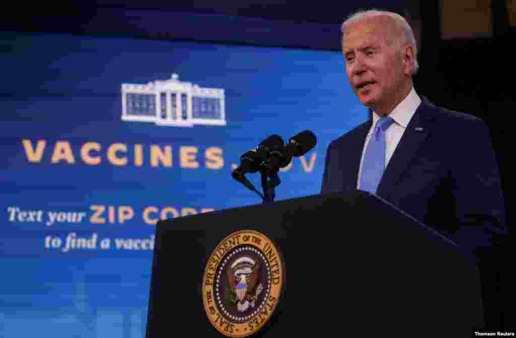 조 바이든 미국 대통령이 23일 백악관에서 정부의 신종 코로나바이러스 대응에 관해 설명했다.
