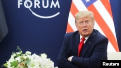 President Donald Trump talks during a bilateral meeting with Iraqi President Barham Salih (not pictured) at the 50th World Economic Forum (WEF) annual meeting in Davos, Switzerland, Jan. 22, 2020.