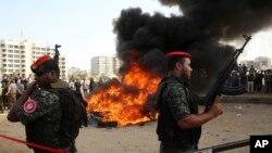 Les forces de sécurité du Hamas, à Gaza, le lundi 22 octobre 2018.