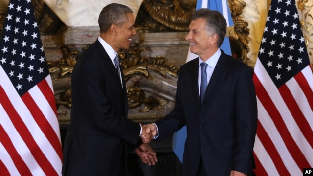 Барак Обама и президент Аргентины Маурисио Макри