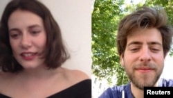 FILE - Andrea Chabant Sanchez in Madrid, Spain and his girlfriend, Emma in Normandy, France, video chat on Jan. 30, 2020. (ANDREA CHABANT SANCHEZ/Handout via REUTERS )