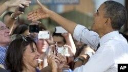 20일 미국 플로리다주 마이애미에서 유세 중인 바락 오바마 대통령.