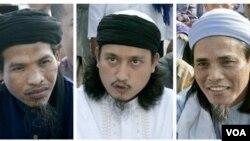 """Para pelaku bom Bali, dari kiri: Ali Ghufron, Imam Samudra, dan Amrozi Nurhasyim yang dieksekusi mati pada 9 November 2008 (foto: dok). Film dokumenter """"Prison and Paradise"""" karya Daniel Rudi Haryanto mendokumentasikan wawancara dengan para pelaku utama b"""