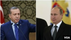 From left, Turkey President Recep Tayyip Erdogan and Russia President Vladimir Putin.