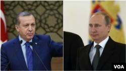 លោក Recep Tayyip Erdogan ប្រធានាធិបតីតួកគី (រូបឆ្វេង) និងលោក Vladimir Putin ប្រធានាធិបតីរុស្ស៊ី។