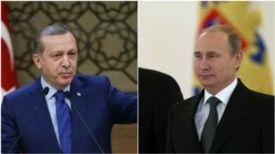 From left, Turkey President Recep Tayyip Erdogan and Russia President Vladimir Putin.