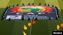 Le logo de la CAF (Confédération africaine de football) aperçu sur le terrain lors de la cérémonie de lancement de la CAN 2017 au stade de Franceville, Gabon, 14 janvier 2017.