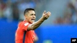 Alexis Sanchez lors de la finale de la Coupe des confédérations entre le Chili et l'Allemagne, Russie le 2 juillet 2017