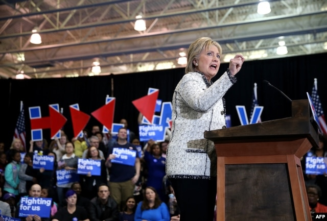 Democratic presidential candidate former Secretary of State Hillary Clinton speaks during her primary night gathering at the University of South Carolina in Columbia, Feb. 27, 2016.