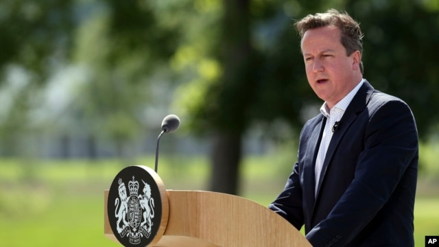 British Prime Minister David Cameron speaks during a media conference at the G-8 summit at the Lough Erne golf resort in Enniskillen, Northern Ireland, June 18, 2013.