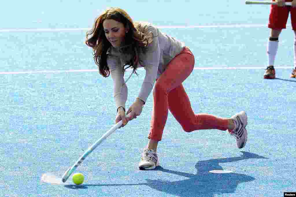 March 15: Britain's Catherine, Duchess of Cambridge plays hockey with the Team GB hockey teams at Riverside Arena in the Olympic Park in London.