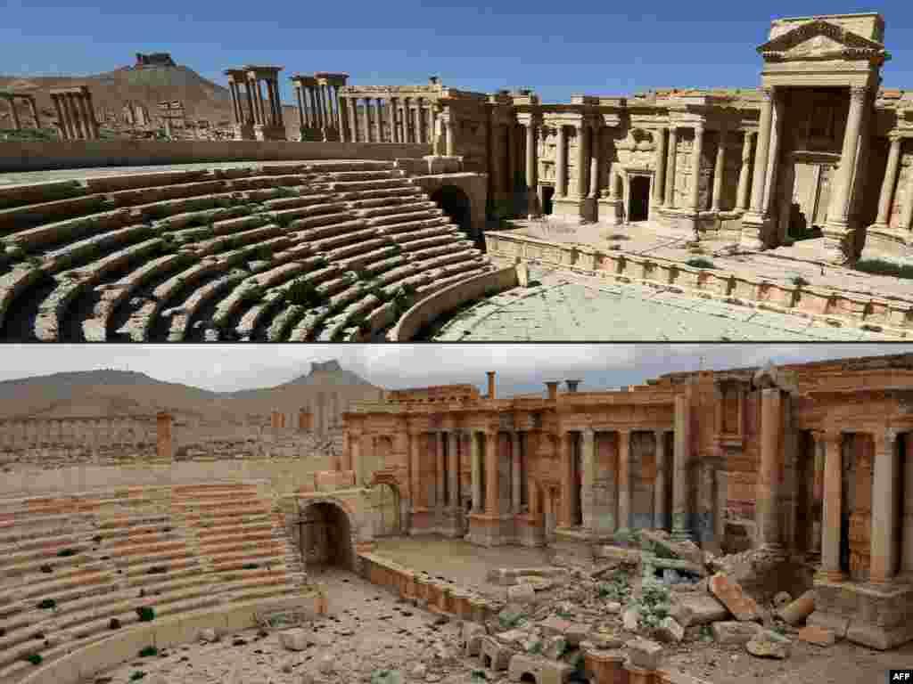 """Dua foto """"Amfiteater"""" kota Romawi kuno Palmyra di Suriah yang dilanda perang, foto pertama diambil pada 31 Maret 2016 (atas) dan foto kedua 3 Maret 2017 (bawah)."""