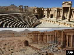 This combination of pictures created on March 3, 2017 shows a file photo taken on March 31, 2016, (top) of the amphitheatre in the ancient city of Palmyra in central Syria, and a photo (bottom) taken March 3, 2017, of the amphitheatre displaying damage.
