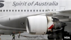 Salah satu mesin pesawat Airbus A380 milik Qantas Airways yang meledak di udara.