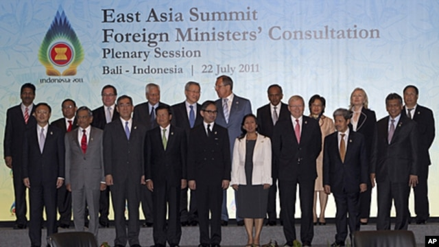 East Asia Summit Foreign Ministers pose for a photo before their meeting in Bali, Indonesia, July 22, 2011.