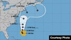 Proyección de trayectoria del huracán José para los próximos días. Centro Nacional de Huracanes, boletín 45.
