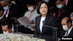 အမ်ဳိးသားေန႔ အခမ္းအနားမွာ မိန္႔ခြန္းေျပာေနတဲ့ ထုိင္ဝမ္သမၼတ Tsai Ing-wen. (ေအာက္တုိဘာ ၁၀၊ ၂၀၂၀)