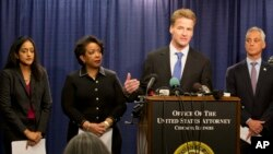 U.S. Attorney Zachary T. Fardon of the Northern District of Illinois speaks during a news conference accompanied by Principal Deputy Assistant Attorney General Vanita Gupta (left) Attorney General Loretta Lynch, and Chicago Mayor Rahm Emanuel, Jan. 13, 2017.