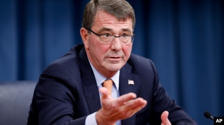 FILE - Defense Secretary Ashton Carter speaks during a news conference at the Pentagon, April 16, 2015.